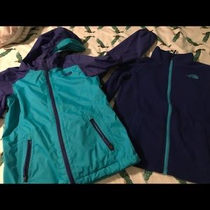 North Face fleece and raincoat